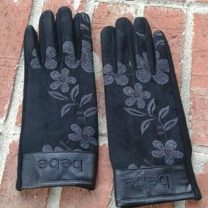 bebe Black Faux Suede Floral Stenciled Gloves